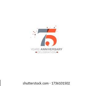 75 years anniversary or birthday celebration design template Vector.