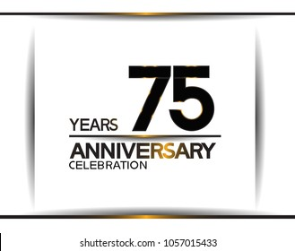 75 years anniversary black color simple design isolated on white background for celebration