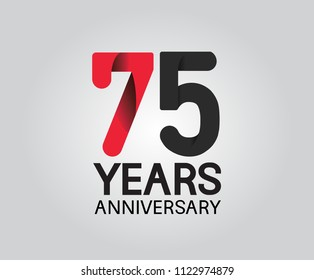 75 years anniversary black and red soft color for company celebration isolated on white background