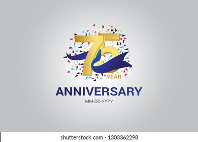 75 years anniversary blue ribbon celebration logotype. anniversary logo with golden and Spark light white color isolated on black background, vector design for celebration, invitation card-vector