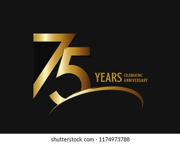 75 years anniversary celebration design. anniversary logo with swoosh and golden color isolated on black background, vector design for greeting card and invitation card.