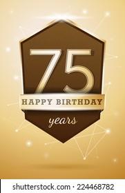 75 Years Anniversary Celebration Design Happy Birthday Card