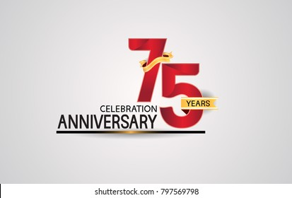 75 years anniversary celebration design with elegance red color and golden ribbon isolated on white background for celebration event