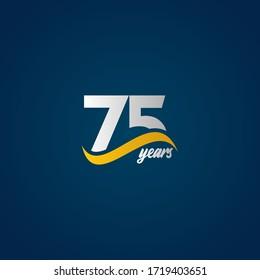 75 Years Anniversary Celebration Elegant White Yellow Blue Logo Vector Template Design Illustration