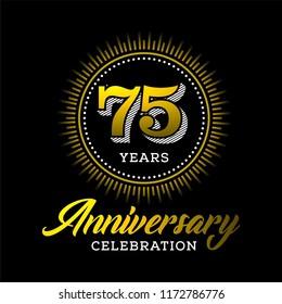 75 years anniversary celebration gold logo