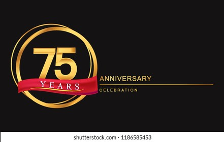 75 years anniversary celebration with golden color and ring, red ribbon for anniversary celebration