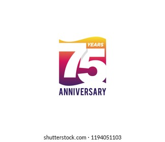 75 Years Anniversary Celebration Icon Vector Logo Design Template. Gradient Flag Style.