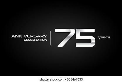 75 Years Anniversary Celebration Logo, White , Isolated on Dark  Background