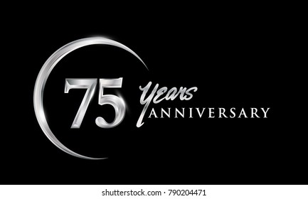75 years anniversary celebration. Anniversary logo with silver ring elegant design isolated on black background, vector design for celebration, invitation card, and greeting card.