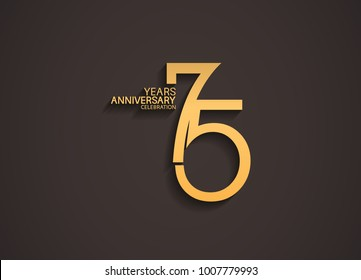 75 years anniversary celebration logotype with elegant gold color for celebration