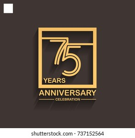 75 years anniversary celebration logotype style linked line in the square with golden color. vector illustration isolated on dark background