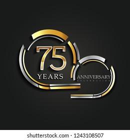 75 Years Anniversary Celebration Logotype,template elements for birthday celebration