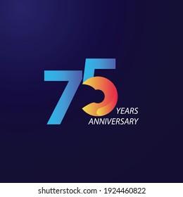 75 Years Anniversary Celebration Vector Template Design Illustration