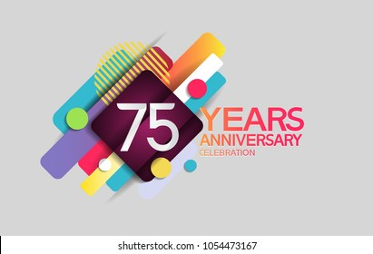 75 years anniversary colorful design with circle and square composition isolated on white background for celebration