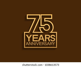 75 years anniversary design line style with square golden color for celebration event