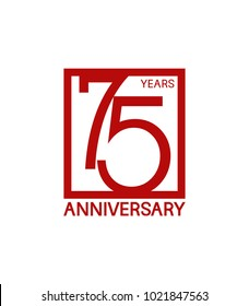 75 years anniversary design logotype with red color in square isolated on white background for celebration