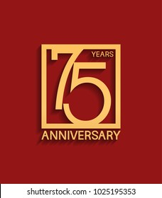 75 years anniversary design logotype golden color in square isolated on red background for celebration event
