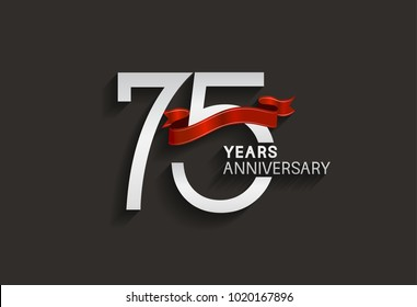 75 years anniversary design with silver color and red ribbon isolated on black background for celebration event