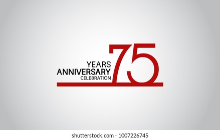 75 years anniversary design with simple line red color isolated on white background for celebration