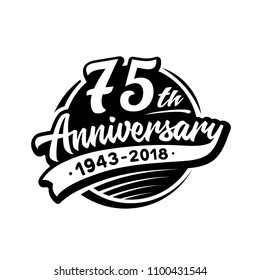 75 years anniversary design template. Vector and illustration. 75th logo.