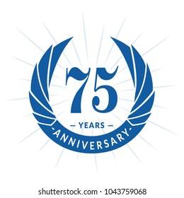75 years anniversary. Elegant anniversary design. 75 years logo.