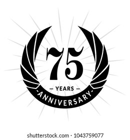 75 years anniversary. Elegant anniversary design. 75 years logo.