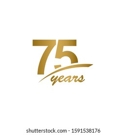 75 Years Anniversary elegant Gold Line Celebration Vector Template Design Illustration