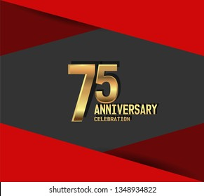 75 years Anniversary gold font with red fold on above and below font