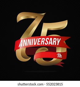 75 Years Anniversary Golden Logo Celebration with Red Ribbon