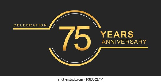 75 years anniversary golden and silver color with circle ring isolated on black background for anniversary celebration event