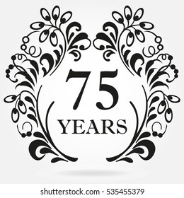 75 years anniversary icon in ornate frame with floral elements. Template for celebration and congratulation design. 75th anniversary label. Vector illustration.