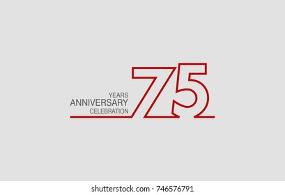 75 years anniversary linked logotype with red color isolated on white background for company celebration event