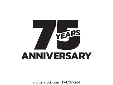 75 years anniversary logo. 75th birthday icon or badge design. Vector illustration.