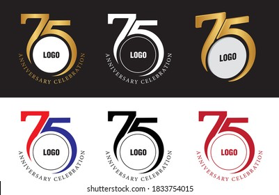 75 years anniversary logo Black, Gold, White , Meroon, Red & Blue Mix &  3D