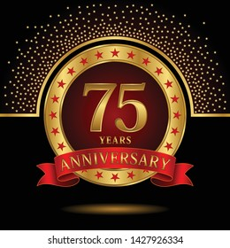 75 years anniversary logo celebration with ring and ribbon, on dark background, vector template.