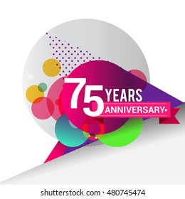 75 years Anniversary logo, Colorful geometric background vector design template elements for your birthday celebration.