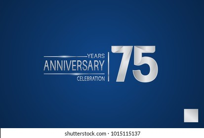 75 years anniversary logo with elegance silver color isolated on blue background for celebration event