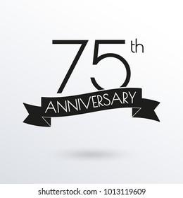 75 years anniversary logo with ribbon. 75th anniversary celebration label. Design element for birthday, invitation, wedding jubilee. Vector illustration.
