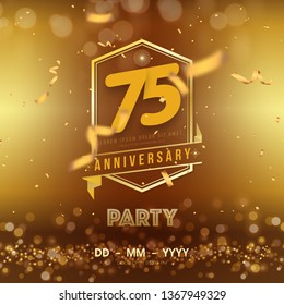 75 years anniversary logo template on gold background. 75th celebrating golden numbers with ribbon and confetti isolated design elements.