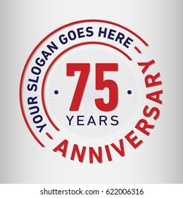 75 years anniversary logo template. Vector and illustration.
