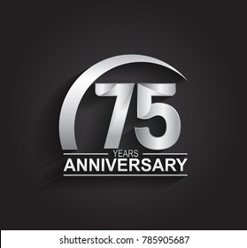 75 years anniversary logotype design with silver color isolated on black background for company celebration