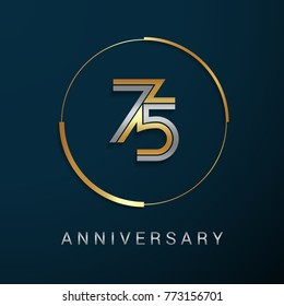 75 Years Anniversary Logotype with  Gold and Silver Multi Linear Number in a Golden Circle , Isolated on Dark Background