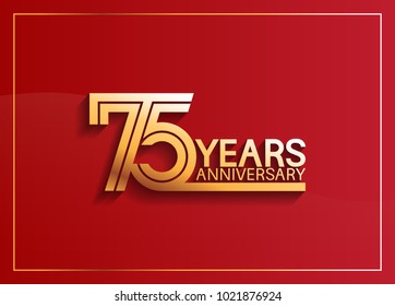 75 years anniversary logotype with golden multiple line style on red background for celebration