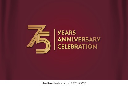 75 Years Anniversary Logotype with  Golden Multi Linear Number Isolated on Red Curtain Background