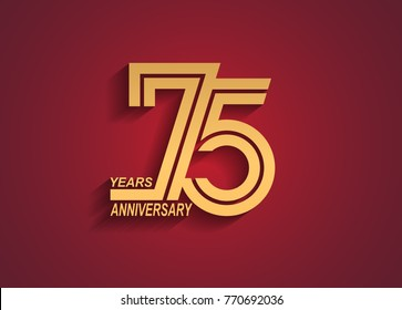 75 years anniversary logotype with linked number golden color isolated on red background for celebration event