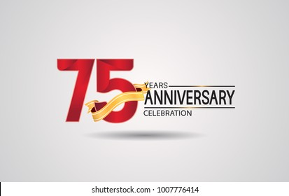 75 years anniversary logotype with red color and golden ribbon isolated on white background for celebration event