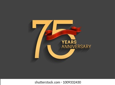 75 years anniversary logotype with red ribbon and golden color for celebration event