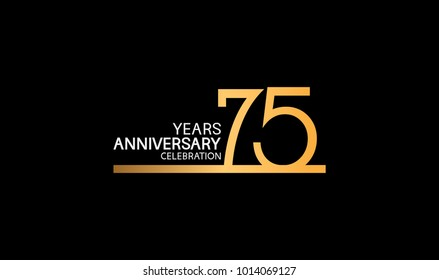 75 years anniversary logotype with single line golden and silver color for celebration