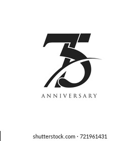 75 years anniversary pictogram vector icon, simple years birthday logo label, black and white stamp isolated