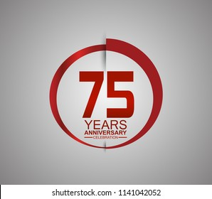 75 years anniversary red logotype style with slash circle for company celebration event